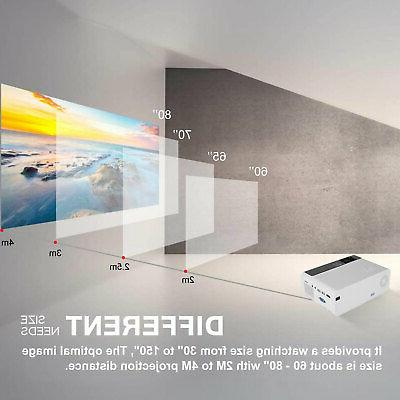 8000 1080p HD LED Projector Smart Home Theater VGA