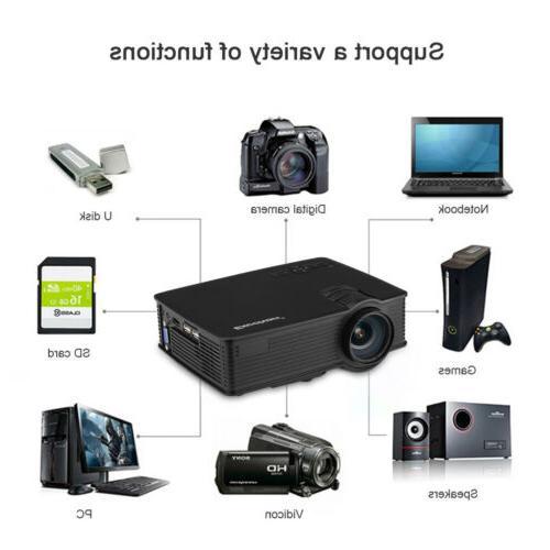 1200 Lumens Mini Projector HD Theater SD AV