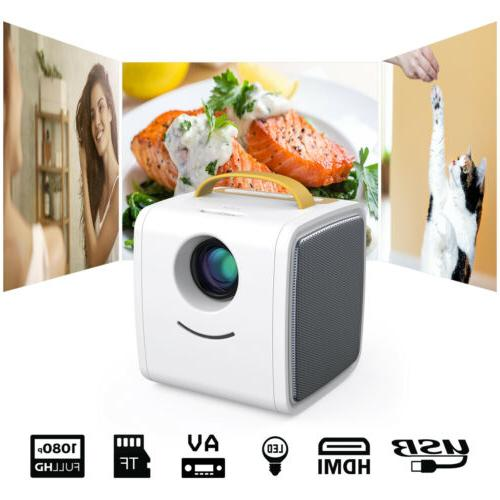 Portable LED Projector Home Theater 1080P TF Card USB