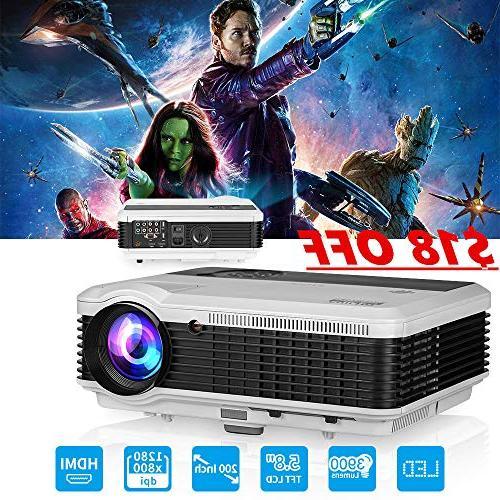 EUG LCD LED Multimedia HD Video Projector 3900 Lumens 1280x8