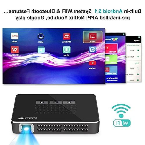 WOWOTO A5 Projector, Android Movie Lumens, Support 1080p Feature, 2100mAh 1+16GB, Bluetooth &
