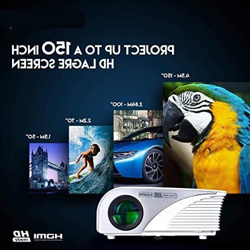 "Mcwell Portable Mini LED Video Projector Home Theater Multimedia 20""-150"" HDMI VGA USB Audio Smart Tablet PC White Warranty"