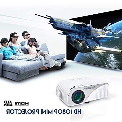Mcwell Mini LED Projector Office Home Theater Multimedia Outdoor VGA USB AV Audio Smart Tablet Computers