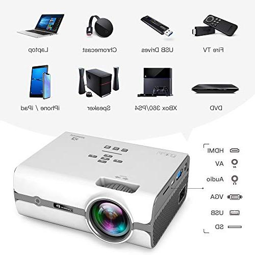 ViviMage Projector, Lux 1080p Supported, Cinema Indoor/Outdoor TV