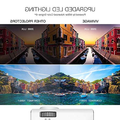 ViviMage C460 Mini Projector, 2500 Supported, Portable Home Indoor/Outdoor TV Stick/Video