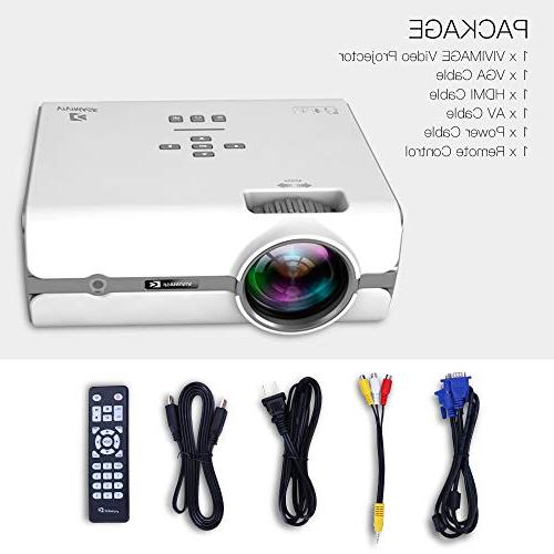 ViviMage C460 Projector, Supported, Portable Indoor/Outdoor Use iPhone/PC/DVD/Fire TV