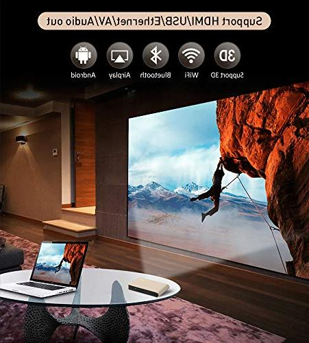 WOWOTO Projector 3D 300in Built-in Bluetooth Android OS AirPlay USB Portable for Office,