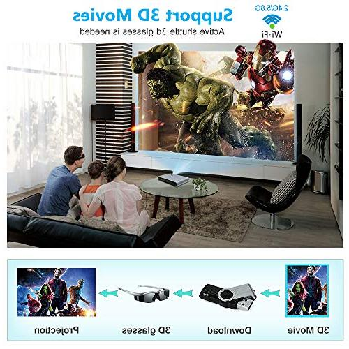 WOWOTO Lumens 3D Support HD 1080P WiFi AirPlay HDMI Android Projector for Home and