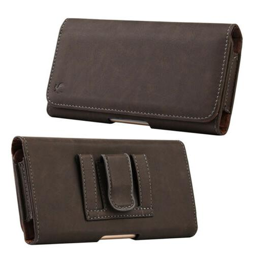 cell phones horizontal carrying leather pouch case