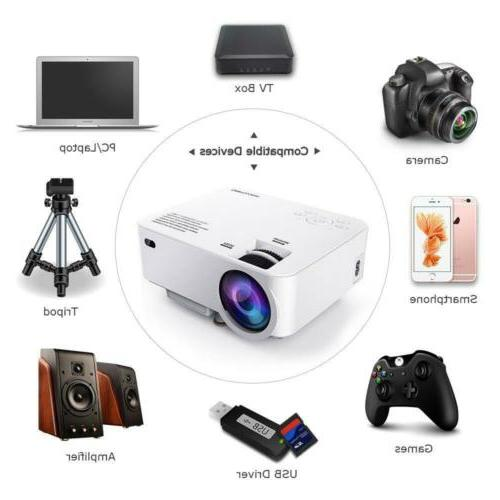 DBPOWER Mini Projector, Display 1080P LED Movie White