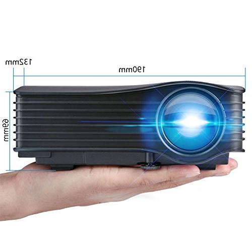 DeepLee LED Mini Projector, Theater with AV USB SD HDMI for Cinema Video Night PS3/PS4 Xbox -