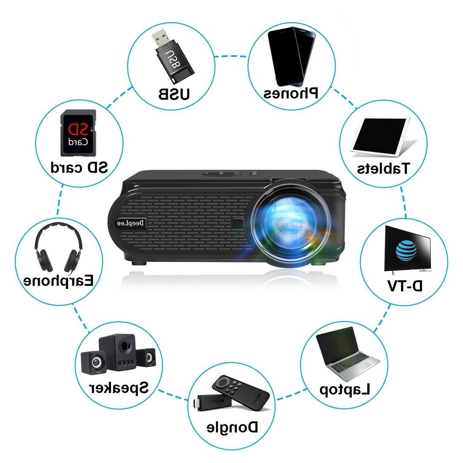 DeepLee DP90 1600 Mini LED Projector for Phone PC Drive S...