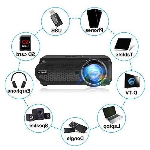 DeepLee DP90 Projector with HDMI Cable for PC Laptop TV Stick PS4 with USB VGA for Movie Gaming Holiday