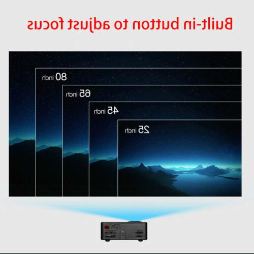 Full HD Mini Projector Home Theater USB HDMI AV