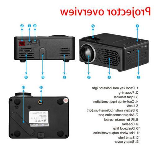 Full HD 1080P Mini Projector Theater USB TF HDMI AV
