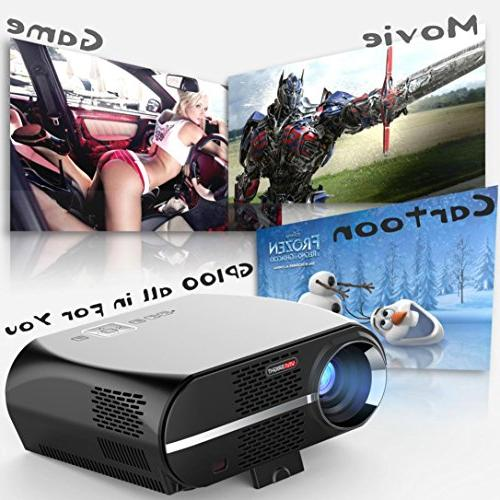 GP100 1080P Projector Full-HD Level Quality Video 3200 Lumens 90-240V US Home Projector