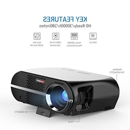 GP100 1080P Projector Portable Video 3200 90-240V US