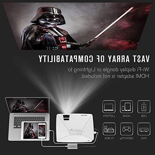 Mini GP15 Life, Home LED Projector, Supports Amazon Stick, HDMI/VGA/AV/SD, White