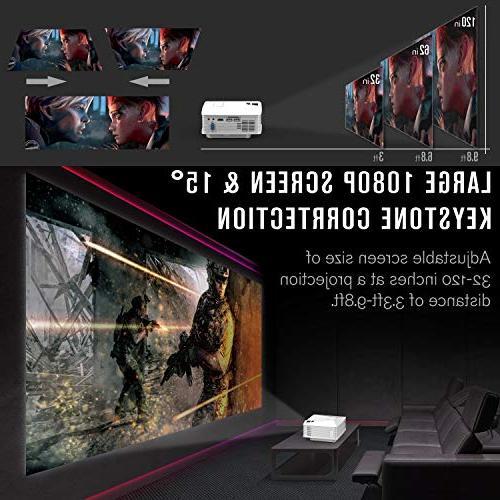 Mini DBPOWER Projector LED Life, 50% Brighter Home Supports Amazon Fire Stick, HDMI/VGA/AV/SD, White