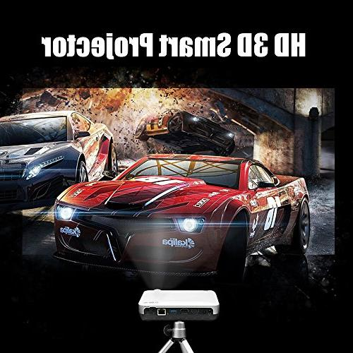 WOWOTO H10 Projector Smart 6.0 2GB RAM/8GB ROM Projector Support 4K with Keystone Correction WiFi with Carrying Case
