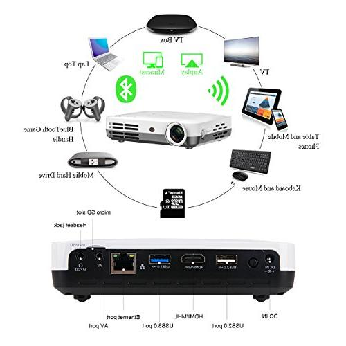 Smart Android RAM/8GB ROM Projector Support with Keystone Correction HDMI WiFi Bluetooth Portable with