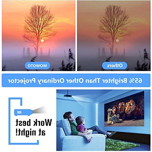WOWOTO Mini Projector LED 1280x800 Theater WXGA 3D for Business Screen HDMI USBx2 RJ45