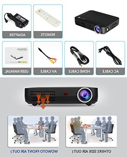 "Mini Projector LED Theater Support 3D 1080P for Entertainment Screen Share Android USBx2 RJ45 176""±"