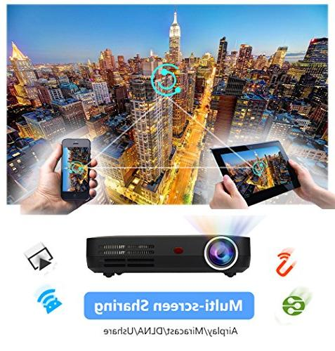 "WOWOTO Lumens Mini Projector LED 1280x800 Theater 3D for Business Wireless USBx2 RJ45 176""±"