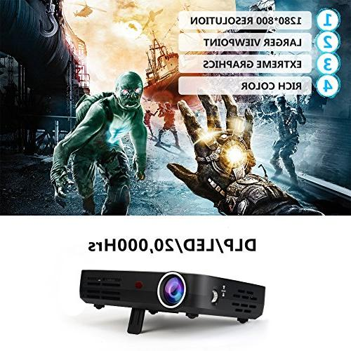 WOWOTO Mini Projector DLP 1280x800 Real Mini Theater Projector WXGA Support 3D HD for Wireless Screen USBx2 RJ45