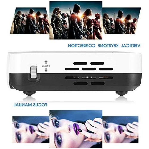 "WOWOTO Mini Projector DLP 1280x800 Home Theater Support HD Android HDMI 176""± Business"
