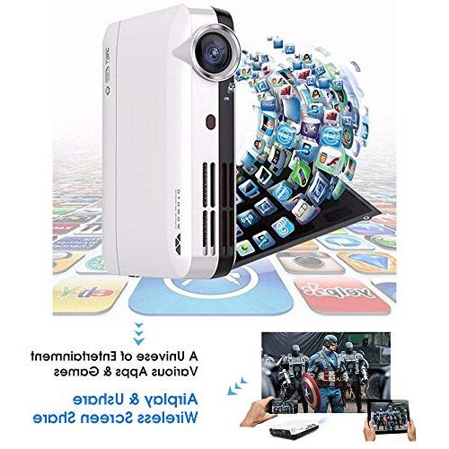 "WOWOTO Mini Projector DLP Real Mini Home Projector Support 3D 1080P Android HDMI 176""± Perfect Business Wireless"