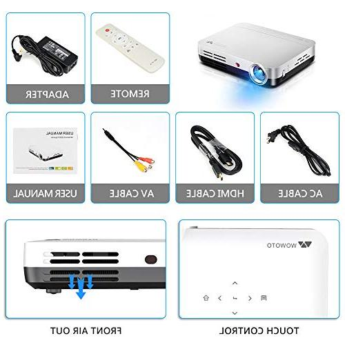 "WOWOTO H8 3500 Mini Projector White LED DLP 1280x800 Real Mini Home Theater Projector Support Android USBx2 RJ45 176""± Perfect Entertainment Business Screen"