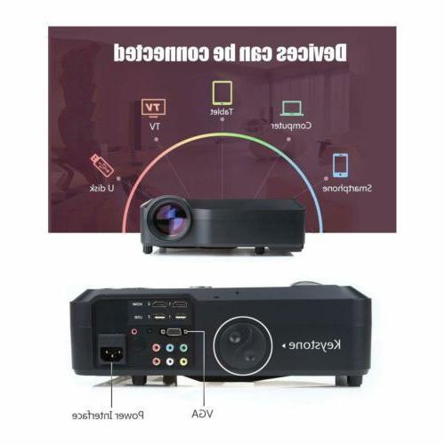 Crenova HD 1080P Full LCD Projector HDMI VGA SD AV TV