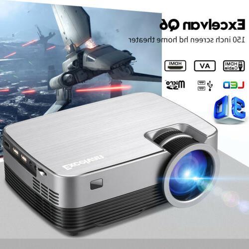Mini Portable Full HD 1080P Projector LED Video Home Lumens