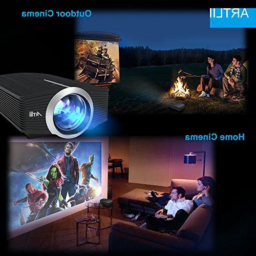 Video Projector, Artlii Movie Screen, 1080P Support Projector for Android Laptop PS4 Xbox USB/HDMI/SD/HiFi Stereo
