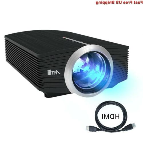 "Video Projector, Movie Projector 130"" Screen, 1080P Projector iPhone Laptop USB/HDMI/SD/HiFi Stereo"