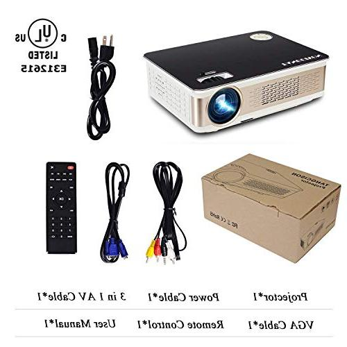 TANGCISON - 3300 LUX LED Projector, Projector 1080P Support, Compatible with Fire Stick, VGA, USB Movie/Home