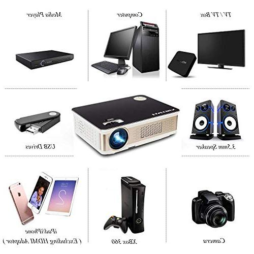 TANGCISON Projector 3300 LUX Projector, Projector with 1080P with Fire VGA, TF, AV Movie/Home