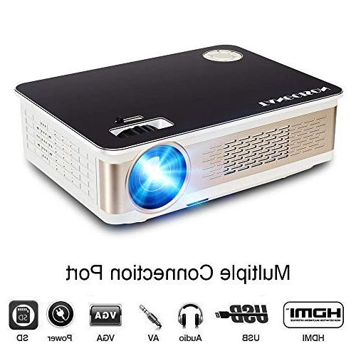 "TANGCISON Projector 3300 LUX Projector, Video Projector with 150"" and 1080P Support, Fire TV Stick, VGA, USB Indoor Movie/Home Theater/Game"