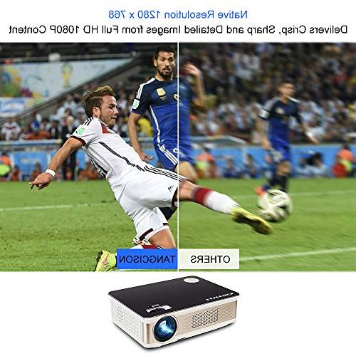 "TANGCISON LUX Projector, Projector with 150"" 1080P Compatible Fire VGA, TF, AV USB Movie/Home"