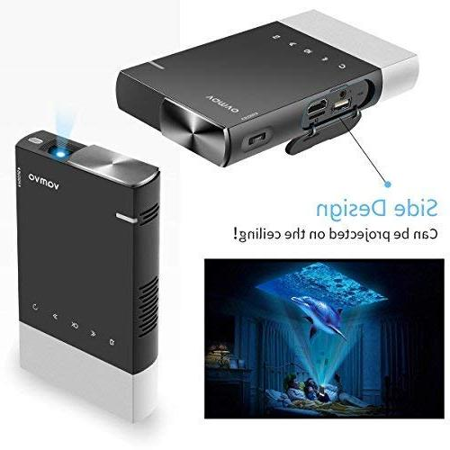 Mini Projector, Mini Portable Projector Supported HD Rechargeable HDMI, USB, TF, Micro Android PC for Outdoor