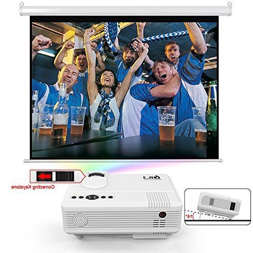 "DR. Professional 2600 Brightness Projector 170"" Full HD 1080P/HDMI/VGA/USB/TF/AV/Sound 1080P Support"
