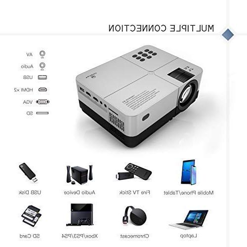 VANKYO Projector, Portable Home Movie Cinema, Supported, 200'' Projection Size, Compatible TV PS4, Xbox, HDMI, VGA, AV, USB