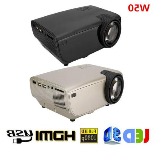 mini 1080p fhd led projector w50 home