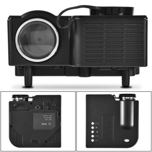 Mini LCD Projector Multimedia Theater AV USB VGA