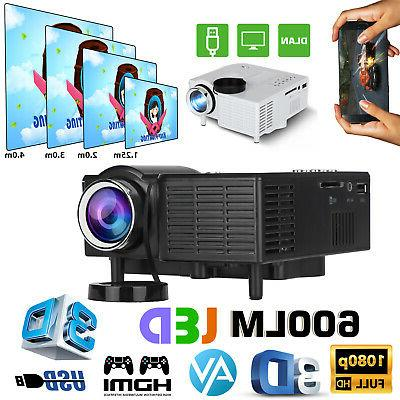 mini 1080p portable pocket projector movie video