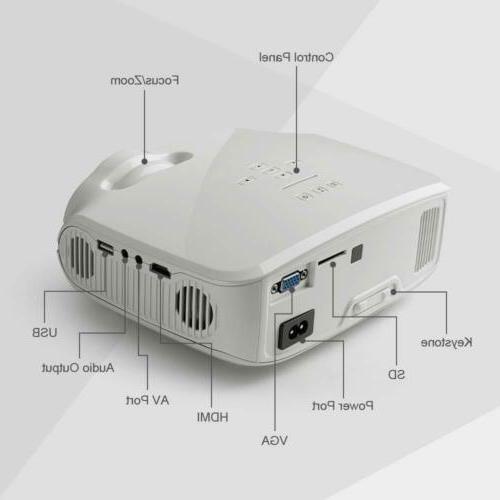Crenova Lumens HDMI Projector Set Home Theater Party USB US