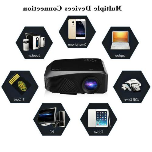 Mini Portable 1080P FHD 3D LED Projector PC Home Movie