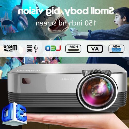 Mini Lumens 3D 1080P Projector HD LCD Aideo Cinema HDMI VGA