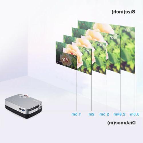 Mini Lumens 1080P Projector HD LED LCD Aideo Cinema HDMI AV